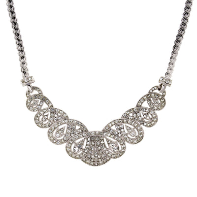 Silver Tone Crystal St.James Club Scalloped Pave Necklace 18 In