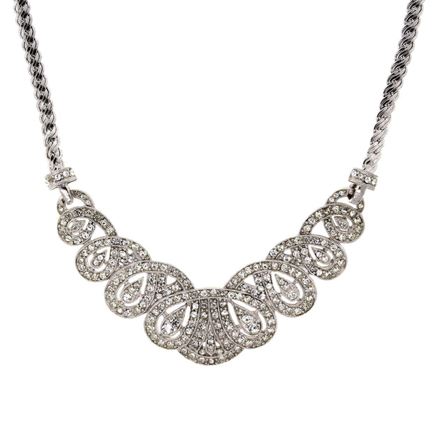 Silver-Tone Crystal St.James Club Scalloped Pave Necklace 18 In