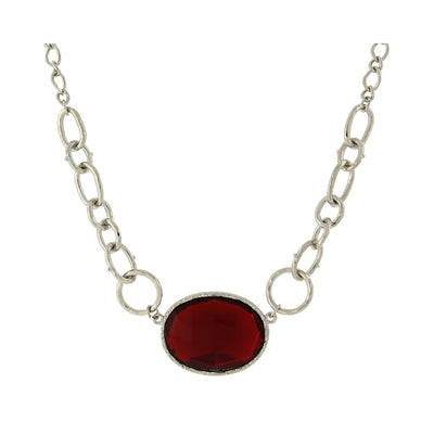 Silver-Tone Red Faceted Oval Stone Necklace 16 In Adj