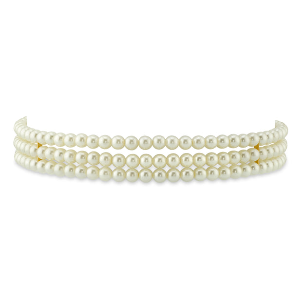 Gold-Tone Costume Pearl 3-Row Choker Necklace 13 In Adj