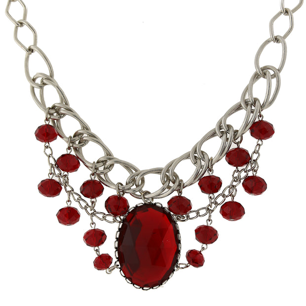 Silver Tone Red Faceted Oval Stone And Crystal Bead Bib Necklace 18 In