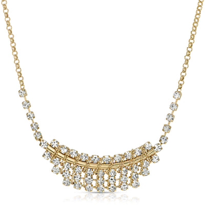 "1928 Jewelry Gold-Tone Crystal Bib Necklace 18 - 21"" Adjustable"