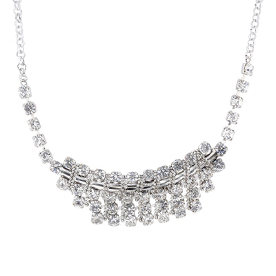 Silver-Tone Crystal Bib Necklace