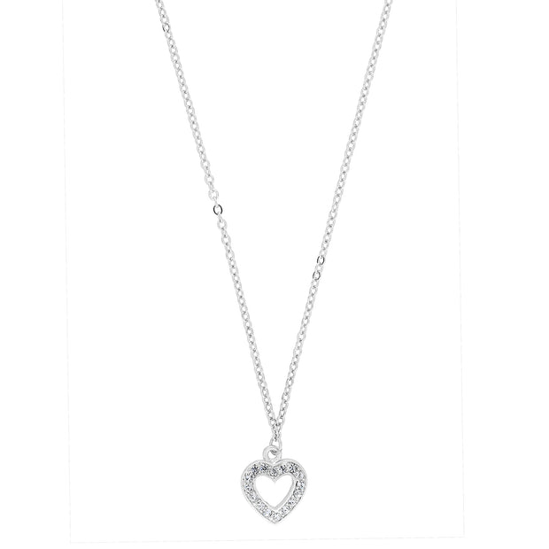 Silver-Tone Crystal Heart Pendant Necklace 16 In Adj