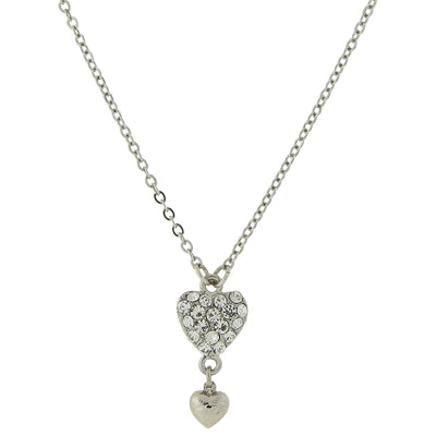 Silver-Tone Crystal Heart Pendant with Drop Necklace 16 In Adj