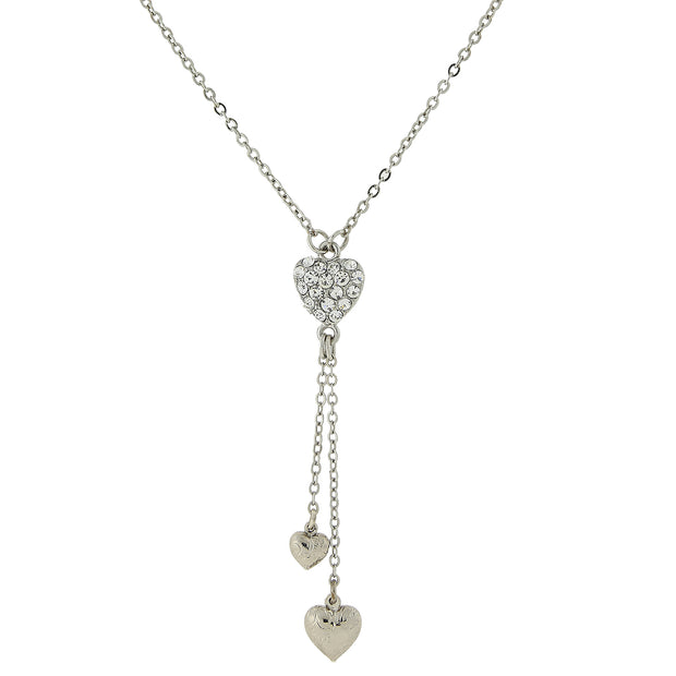 Silver-Tone Crystal Heart Pendant with Tassel Drops 16 In Adj