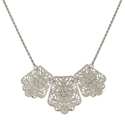 Silver-Tone Filigree Bib Necklace 16 In Adj