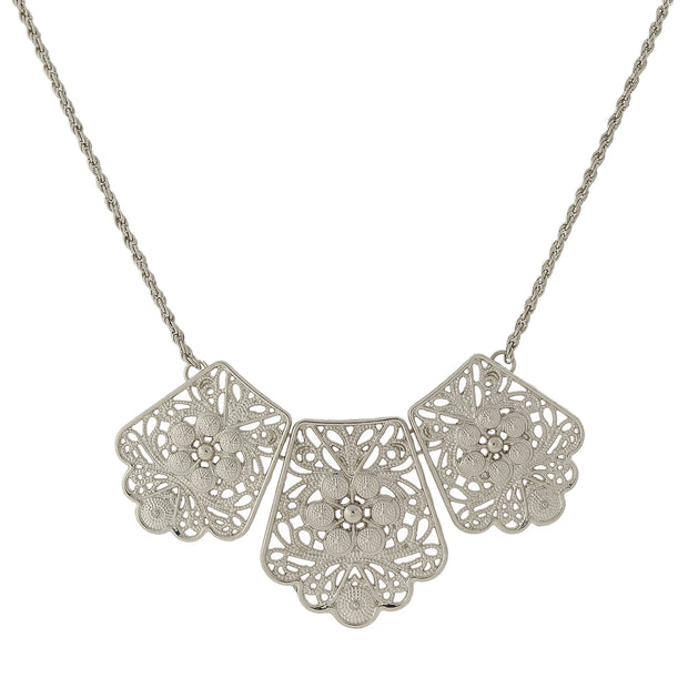 Filigree Bib Necklace 16   19 Inch Adjustable Silver
