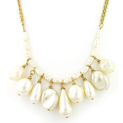 Gold-tone Costume Pearl Multi Drop Necklace 16 - 19 Inch Adjustable