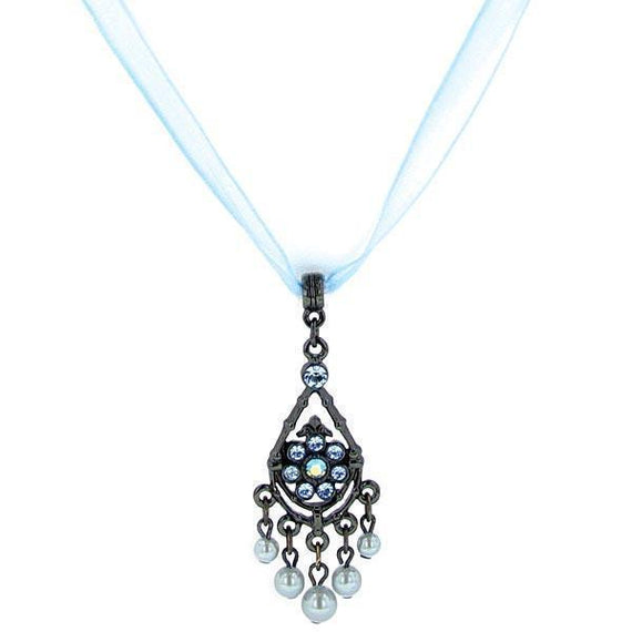 Black-Tone Blue Color Simulated Pearl & Crystal Organza Necklace 15  ADJ.
