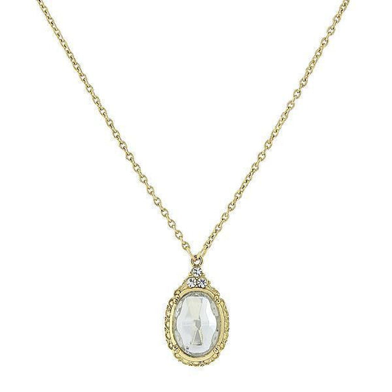 Gold-Tone Crystal Oval Pendant Necklace 16 Adj.