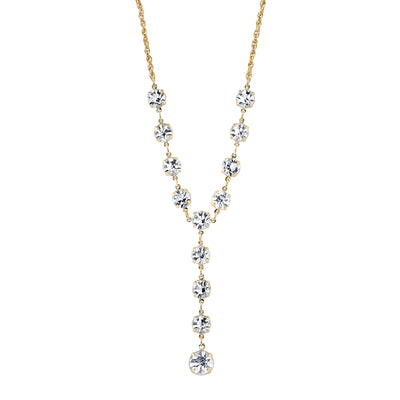 14K Gold-Dipped Genuine Swarovski Crystal Y-Necklace 16 In Adj