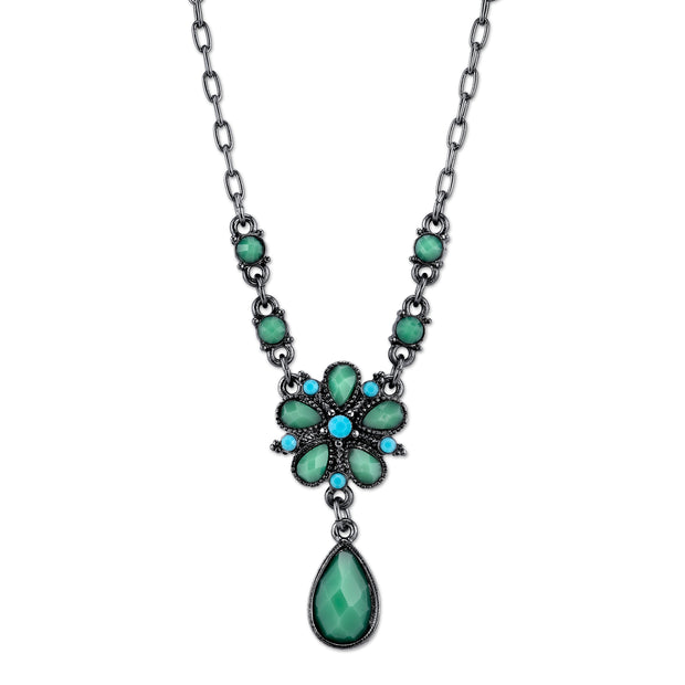 Black-Tone Turquoise Pearshape Drop Necklace 16 In Adj