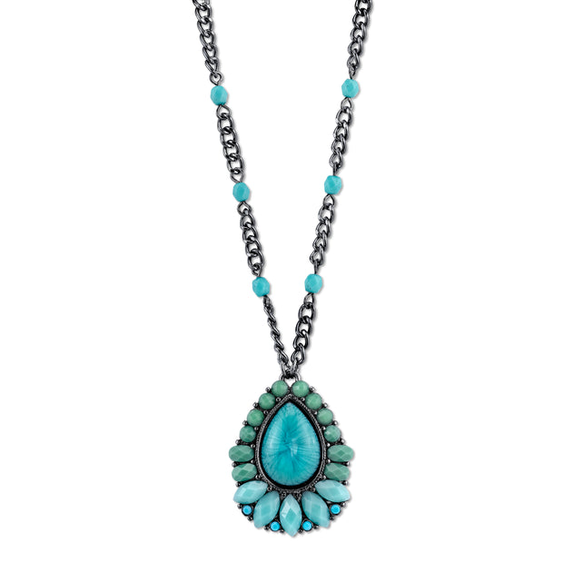 Black-Tone Turquoise Color Pearshape Pendant Necklace 16 In Adj