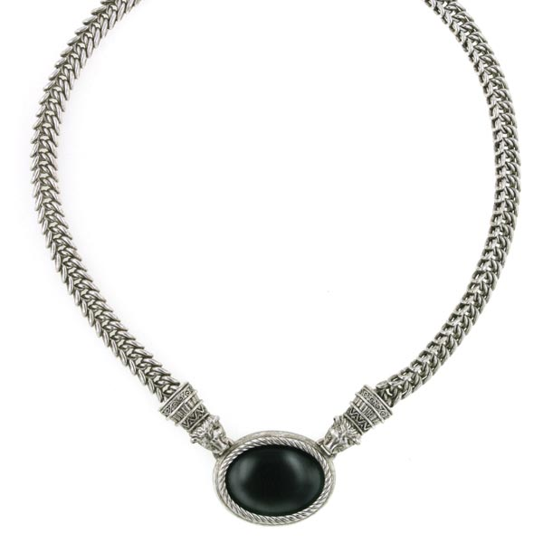 Silver-Tone Black Oval Jaguar Necklace 17 In Adj