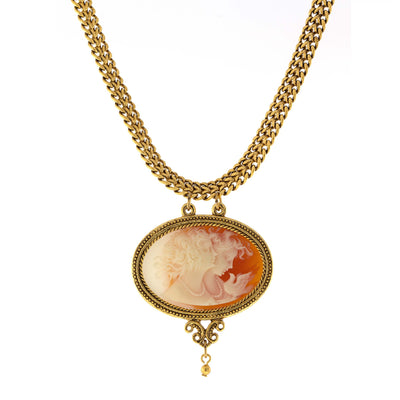 Gold-Tone Carnelian Color Cameo Twin Muse Pendant Necklace 17