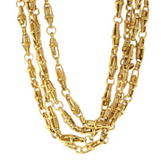 Gold Tone Four Tie Twisted Necklace 18 In