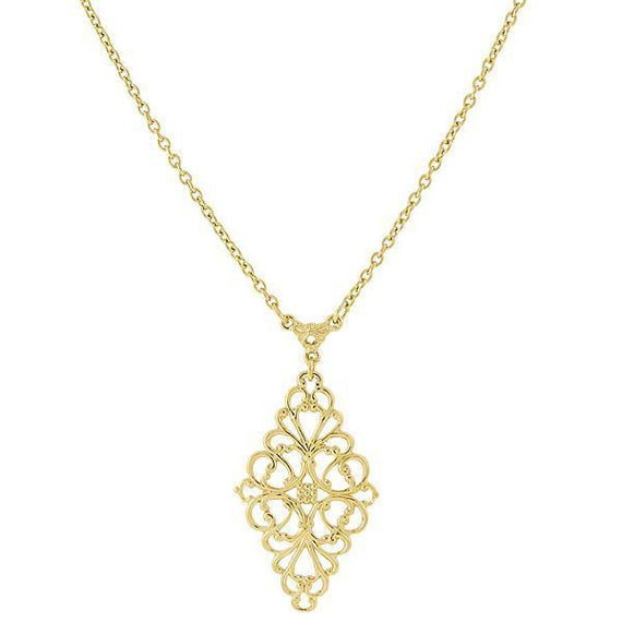 Fashion Jewelry - Gold Tone Filigree Pendant Necklace