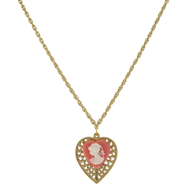 Gold-Tone Pink Cameo Heart Overlay Filigree Pendant Necklace 16 In Adj