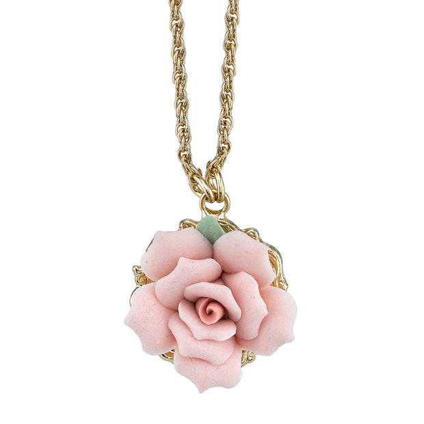 Gold Tone Genuine Pink Porcelain Rose Pendant Necklace 16 In Adj