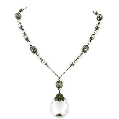 Black-Tone Crystal Briolette Drop Necklace 16 In Adj