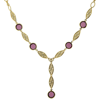 14K Gold Dipped Amethyst Purple Genuine Swarovski Crystal Y Necklace 16   19 Inch Adjustable
