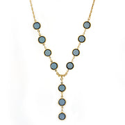 14K Gold Dipped Blue Round Genuine Swarovski Crystal Y Necklace 16   19 Inch Adjustable