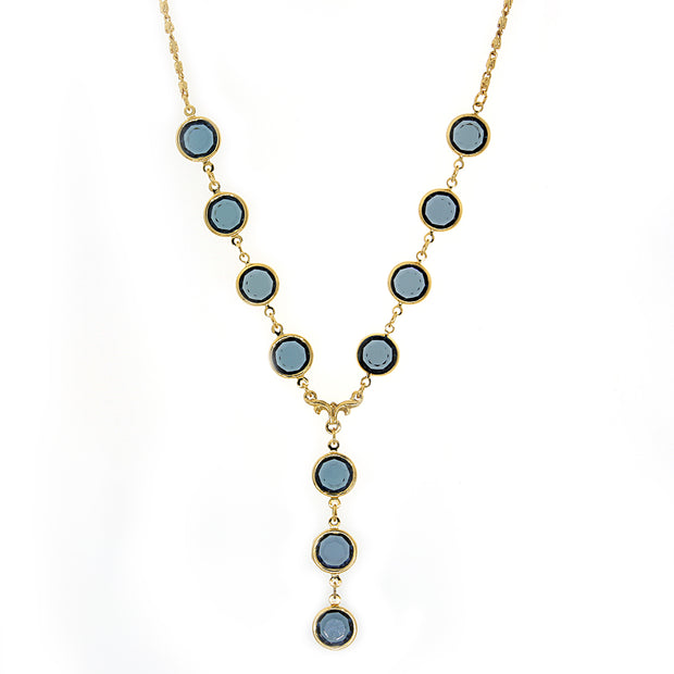 14K Gold-Dipped Blue Round Genuine Swarovski Crystal Y-Necklace 16 - 19 Inch Adjustable