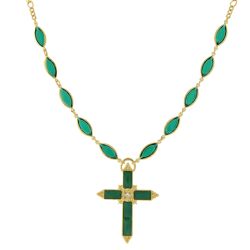 14k Gold-Dipped Emerald Color Genuine Swarovski Crystal Cross Necklace
