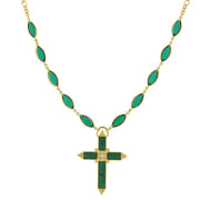 14K Gold Dipped Green Cross Necklace 16   19 Inch Adjustable