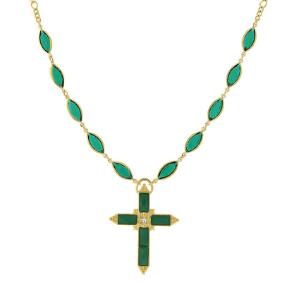 14K Gold-Dipped Green Cross Necklace 16 - 19 Inch Adjustable