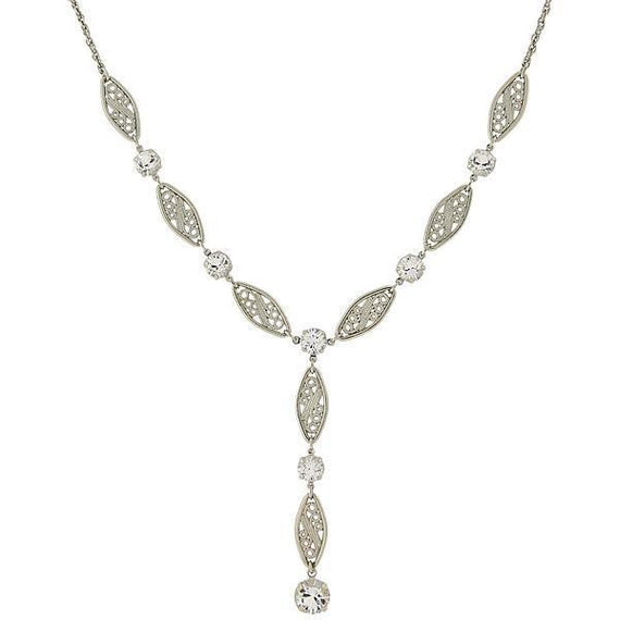 1928 Jewelry: 1928 Jewelry - Silver-Tone Genuine Swarovski Crystal Filigree Y Necklace