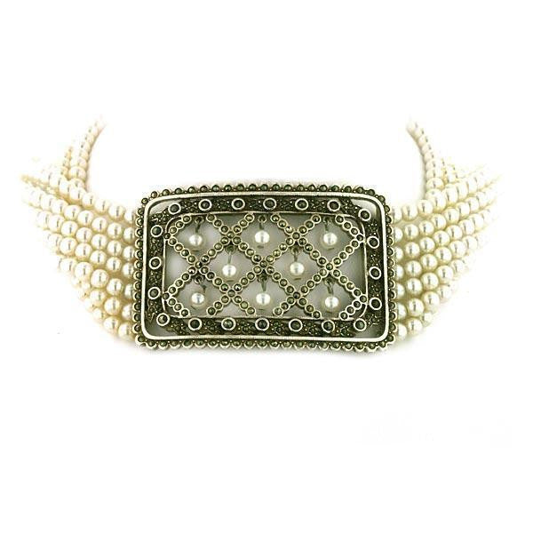 "Antiquities Couture Silver Marcasite Pearl Alexandra Collar 12""Adj."