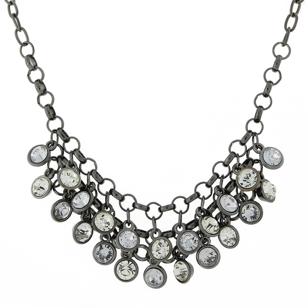 Crystal Clear Cluster Bib Necklace 16 - 19 Inch Adjustable