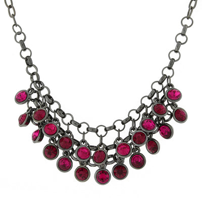 Black Tone Fuchsia Cluster Bib Necklace 16   19 Inch Adjustable