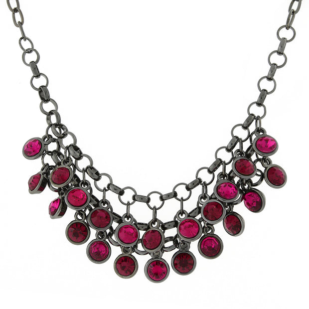 Black-Tone Fuchsia Cluster Bib Necklace 16 In Adj