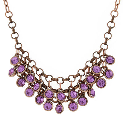 Copper-Tone Amethyst Cluster Bib Necklace 16 - 19 Inch Adjustable