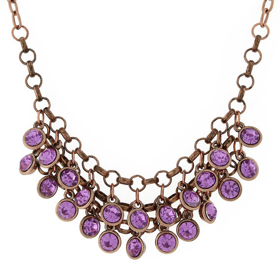 Fashion Jewelry - Copper-Tone Amethyst Color Cluster Bib Necklace