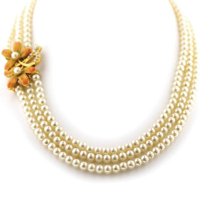 Fantasia Fiori  Three Row Pearl Nested Collar with Floral Spray On One Side 17 In