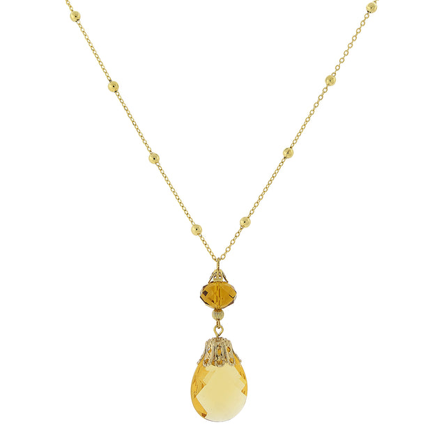 Gold Tone Topaz Color Crystal Pendant Necklace 16   19 Inch Adjustable