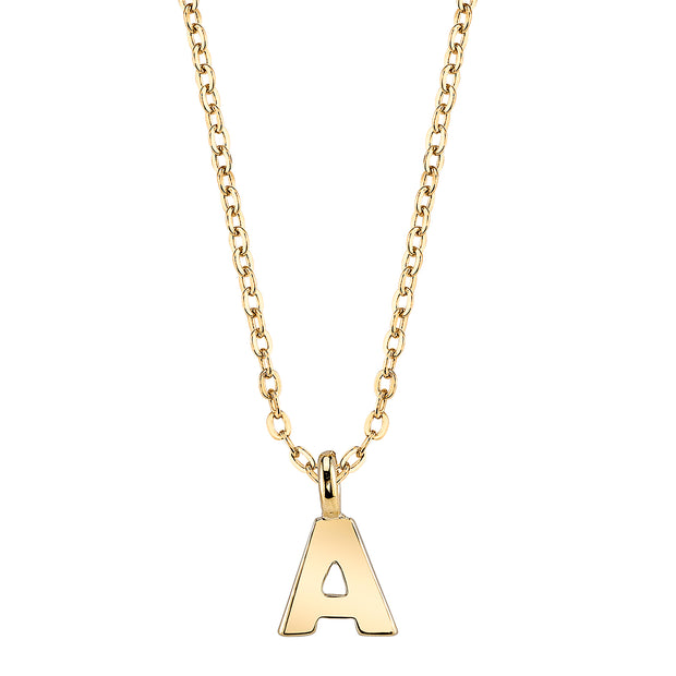 Gold Tone Initial Necklace 20 In