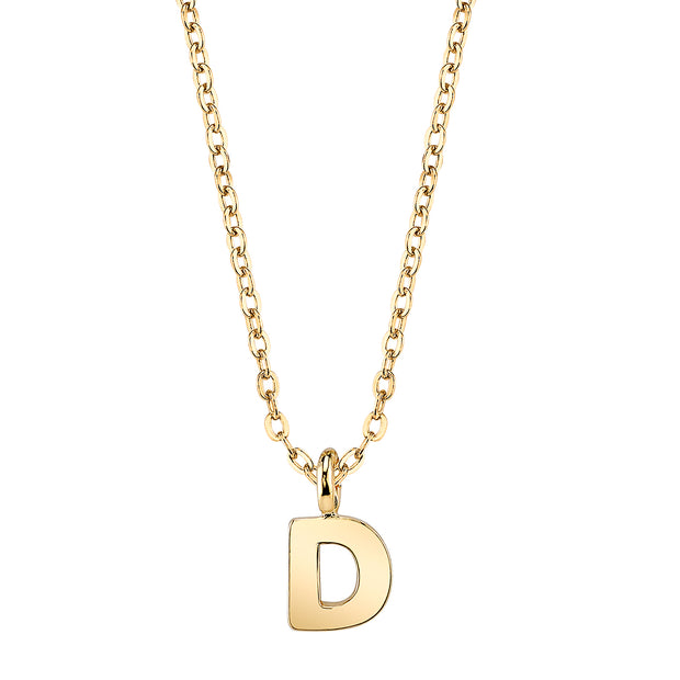 Gold Tone Mini Initial Necklaces D