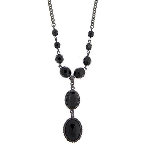 Fashion Jewelry - Black Metal Black Beaded Y Necklace