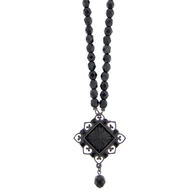 Black Square Beaded Necklace 15 In Adj