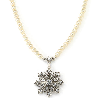 Silver-Tone  Costume Pearl Crystal Snowflake Pendant Necklace 15 In Adj