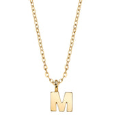 Gold Tone Initial Necklace 20 M