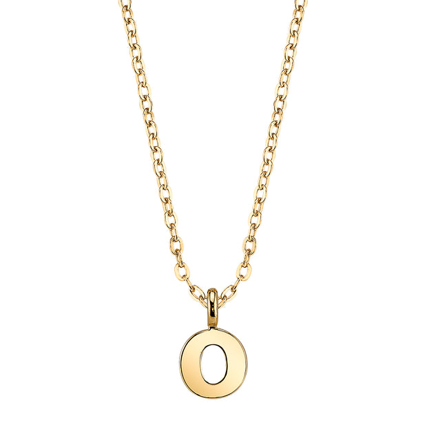 Gold Tone Mini Initial Necklaces O