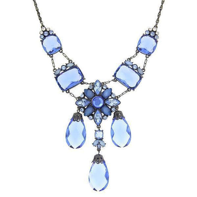 Black-Tone Blue Crystal 3 Briolettes Drop Neck 16 - 19 Inch Adjustable