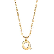 Gold Tone Mini Initial Necklaces Q