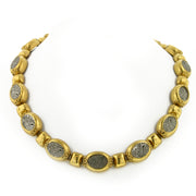 Gold-Tone Pewter Maharaja Script Articulated Necklace 18 In